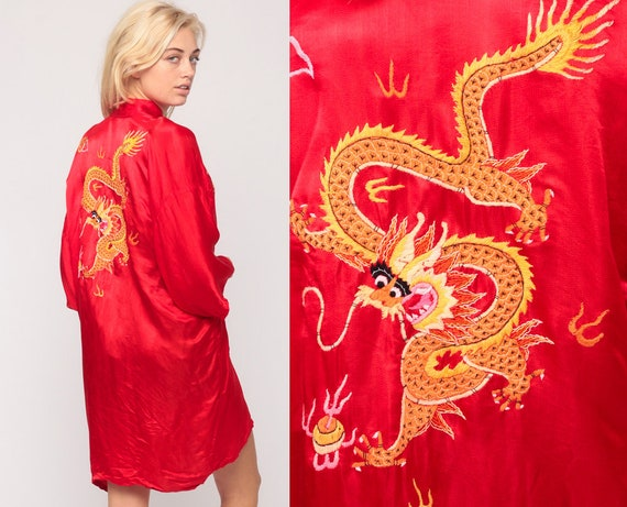 Dragon Robe Red Satin Robe Asian Kimono Robe Jacket Dressing