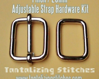 1 Inch / 26mm Adjustable Strap Kit with slide and rectangle ring - Nickel and Antique Brass Finish - Choose from 230, 600, and 1500 sets