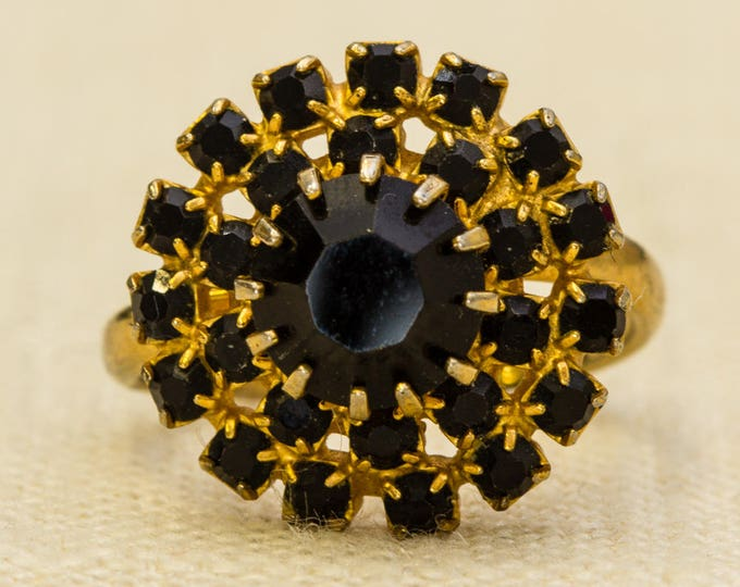 Black Rhinestone Vintage Ring Gold Metal Flower Adjustable Size 7RI