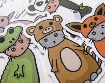 Stickers chat mignon, ludiques chatons, journalisation, autocollant flocons, papeterie, Scrapbooking, papier autocollants, chatons, agneau, porc, renard, Panda