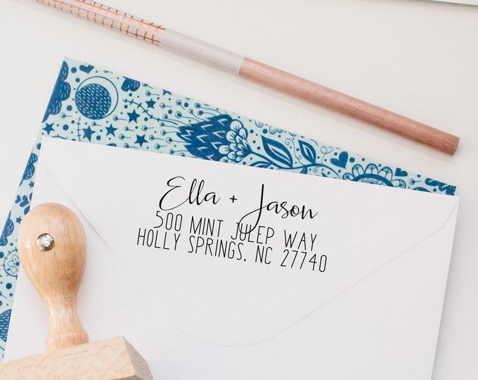 Featured listing image: Return Address Stamp, Custom Address Stamp, Self Inking Stamp, Calligraphy Stamp, Address Label, House Warming Gift, Wedding Stamp