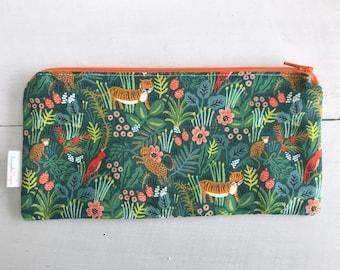 Tiger Pencil Pouch | Rifle Paper Company | Zipper Pouch | Jungle Print | Gift for Girlfriend | Diaper Bag Organization