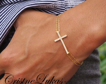 Celebrity Style Small Sideways Cross Bracelet with CZ Stones & Double Chain - Sterling Silver, Yellow or Rose Gold
