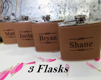 Set of 3 Personalized Flask