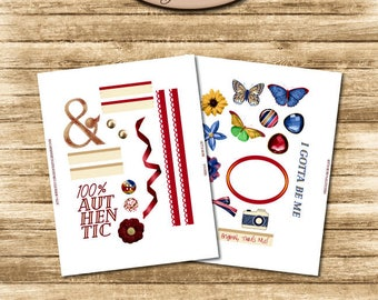 Daily Planner, Digital, Printable, Elements Sticker Sheet Set: Gotta Be Me
