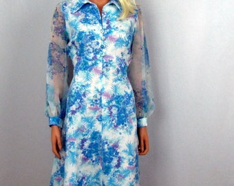 Vintage ~ 1970s ~ Aqua Blue Floral Dress ~ Chiffon Crepe ~ Long sleeves ~ Touch of Lavender ~ Empire ~ Medium