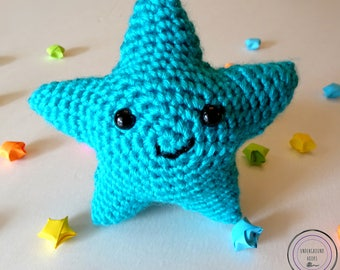 Blue Star Cutie - Blue Crochet Star Plushie - Cute Blue Star Amigurumi - Cute Blue Star Stuffie - Cute Blue Star Stuffed Animal