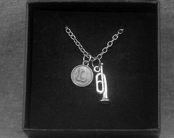 Silver Trumpet Necklace -Music Jewelry -Cornet Necklace -Initial Charm Necklace -Your Choice of A to Z