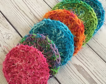 Kitchen Dish Crochet Scrubbies Nylon Cotton Reusable Scrubby Set of 6 Ready to Ship