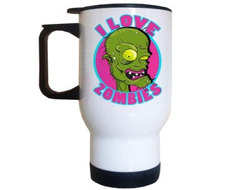 I love Zombies Travel Mug | Zombie Mug | Living Dead Gifts