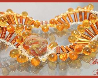 Golden Topaz Beadwoven Wave Bracelet with Lampwork Button Closure SRAJD