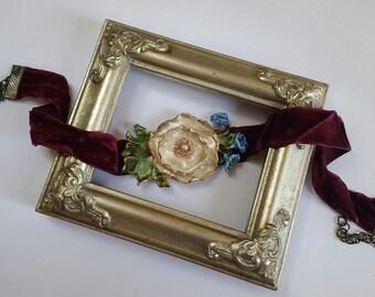 Ivory Poppy Flower Choker in Red Velvet, Handcrafted Floral Necklace