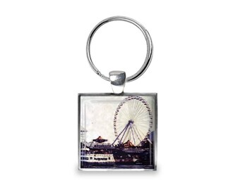 Navy Pier - Glass Photo Keychain - Handmade