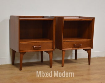 Solid Cherry Mid Century Nightstands - A Pair