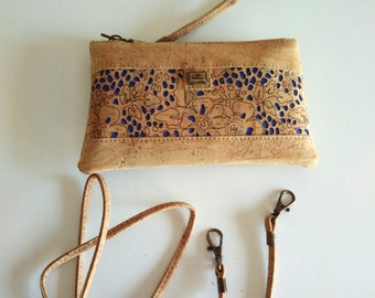 Cork Cross body bag,vegan gifts, boho, handbag, wristlet, shoulder bag, purse, eco friendly gifts, makeup bag, bohemian, girlfriend gift