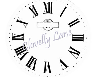 5 vintage clock faces for INSTANT DOWNLOAD with Roman Numerals on White, Off White, Cream, Pale Gray & the original vintage background
