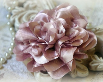 Tresors Mauve Satin and Tulle Fabric Flowers, for Headbands, Clothing, Sashes, Altered Art, approx. 4 inches across, EM-014