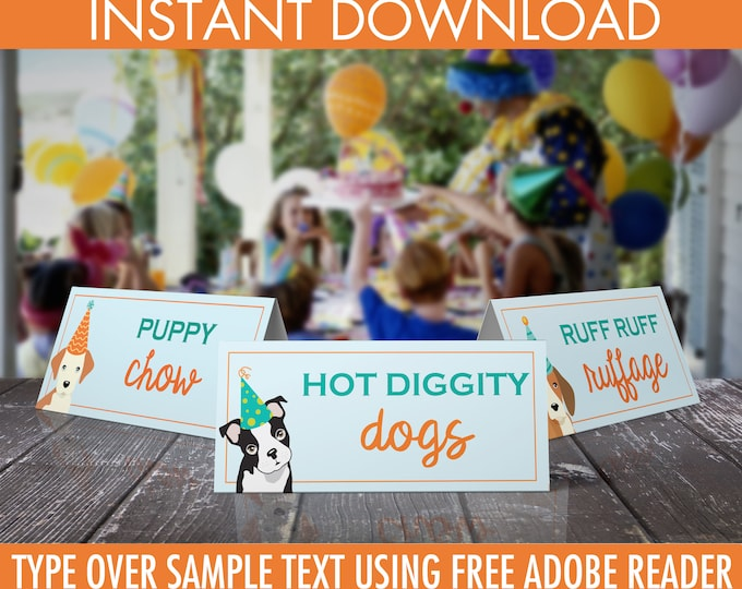 Dog Party Food Labels - Doggie Birthday Party, Doggy, Puppy, First Birthday, Table Tents, Name Cards | DIY Instant Download PDF Printable
