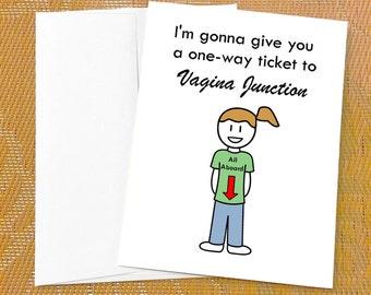 Funny Birthday Card for Him - Vagina Junction Funny Anniversary Card for Boyfriend Funny Birthday Card for Husband Lesbian Anniversary Card