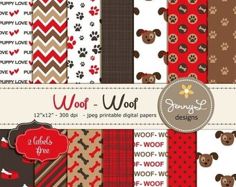 50% OFF Dog Digital papers, Pet, Red and Brown Puppy Dog Theme, Paws Scrapbooking Papers, Dog Bones, Animal Digital Papers, Puppy Love, Dog