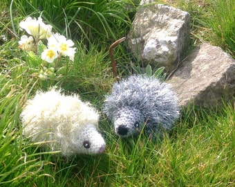 Knitted Hedgehog Ornaments. Sparkly Baby Hedgehogs.