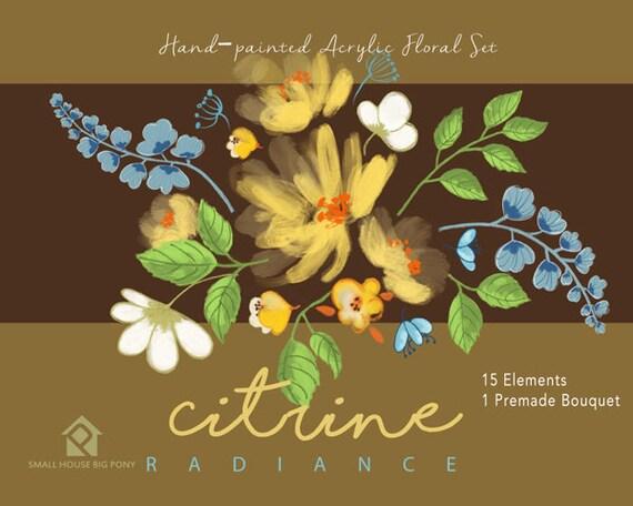 Digital Clipart- Watercolor Flower Clipart, peonies Clip art, Floral Bouquet Clipart, wedding flowers clip art- Yellow Radiance