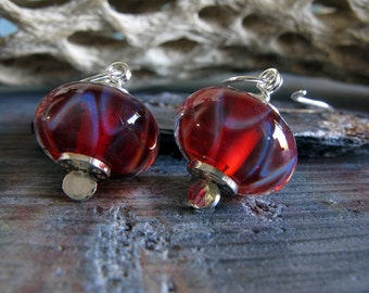 Erotic Tango lampwork glass boro bead earrings. Handmade sterling silver. Cherry red lightweight beads. Classic simple handcrafted jewelry.