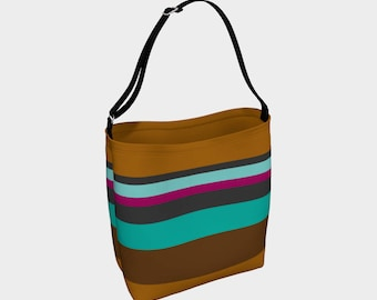 Striped Tote Bag, Brown and Blue Striped Bag, Book Tote, Grocery Bag, Tote Bag, Printed Tote Bag inside and out, Customized Strap