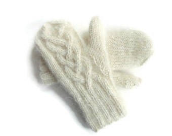 Womens Mittens Knitted Mittens White Wool Mittens Mohair Knitted  Gloves Winter White Mittens Celtic Cable Mittens Knitted Hand Warmers