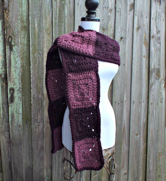 Womens Oversized Crochet Chunky Scarf - Purple Granny Square Scarf - Eggplant and Fig Purple Scarf - Purple Womens Scarf - READY TO SHIP