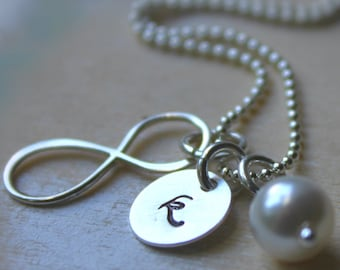 Bridesmaid Necklace. Sterling Silver Personalized Initial Infinity Charm. Swarovski Birthstone or Pearl. Wedding Bridesmaid