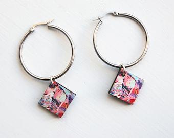 silver hoops, geometric hoops, silver hoop earrings, statement hoop earrings, statement jewellery, statement silver jewellery, silver gifts