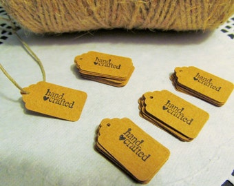 "10-25-50 Kraft Mini Gift Tags - ""Hand Crafted"" Tags - Food Gift Tags - Favor Tag - Craft Show Tag - Jewelry Tag - Merchandise Tags"