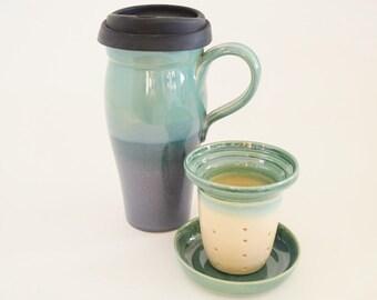 Large Ceramic Travel Mug with Lid and Infuser,  24 oz Stoneware Loose Tea Mug, Blue Green To Go Tea Mug with Silicone Lid