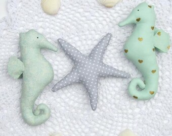 Plush seahorse and starfish toys teal mint gray child friendly toy set stuffed seahorses & starfish nautical nursery decor baby shower gift