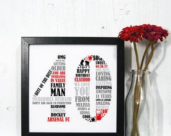 Framed 40th Birthday Gift - 40th birthday, 40th birthday gift, personalized birthday print, 40th birthday for him