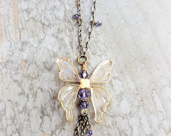 Butterfly Necklace, Butterfly Jewelry, Statement Necklace, Swarovski Crystal Butterfly, Handmade Butterfly, Valentines, Keepsake, Memento,