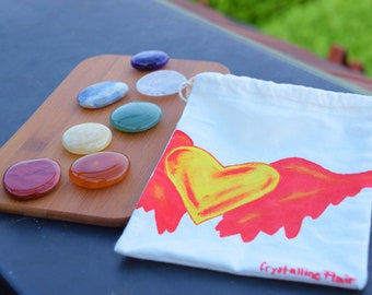 Chakras set-cotton bag with heart & Wing-heart with wings-7 chakras-gift kit-healing stones Complete-Reiki-Rock Crystal