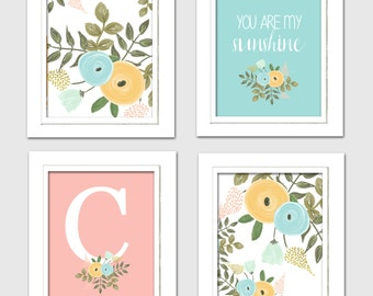 Floral nursery art, flower nursery prints, floral nursery decor, you are my sunshine prints, 8x10