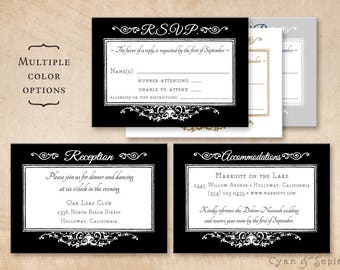 Printable Wedding Enclosure Cards - Ornate Gothic Frame - 3.5x5 - R.S.V.P. Response Reception Accommodations Lodging Other Cards