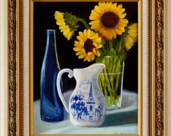 Oil Painting, Liberty Blue Still Life