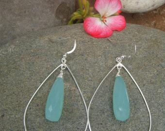 Aqua Earrings - Teardrop Earrings - Chalcedony - Sterling Silver Earrings - Handmade -Two Sizes - Large