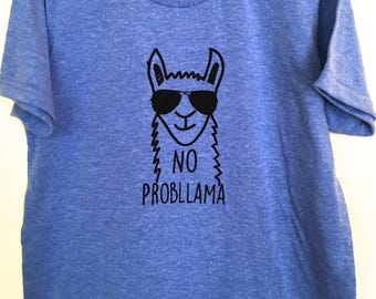 T Shirt Kids, Toddlers Tshirt, Llama, Fun T Shirt, No Probllama, Gift For Kids, 2 to 12 Years