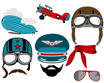 Aviator digital photo booth party props instant download