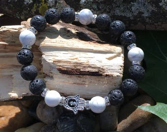 Black and white hamsa bracelets, wrist mala, protection bracelet, cyber monday, diffuser bracelets