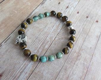 Tiger's Eye and African Turquoise Bracelet, Prosperity Bracelet, Elephant Bead bracelet