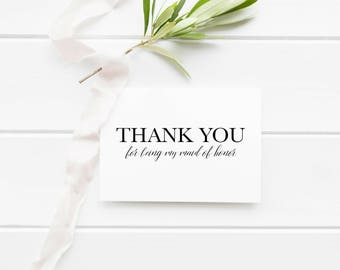 Thank You For Being My Maid Of Honor Card, Maid of Honor, Wedding Printable, Thank You Card, Instant Download, Thank You, Wedding