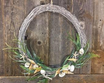 Coastal Wreath with Seashells, Beach Themed, Home Decor