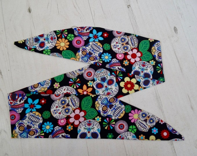 Vintage 50s Black Vintage Mexican Candy Skull Head Scarf - Hair Tie - 1950s Bandanna Tattoo Steampunk Cute Mythical Fantasy Mexico Sugar