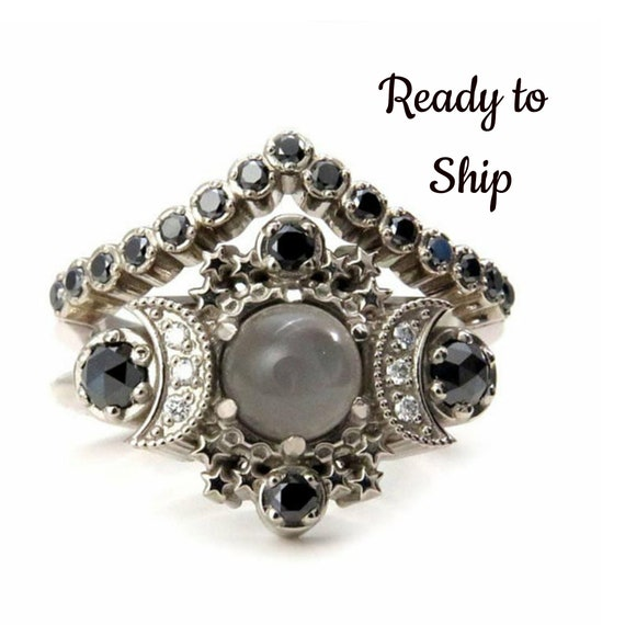 Ready to Ship Size 6 - 8 Selene Gray Moonstone Engagement Ring Set - Cosmos Boho 14k Gold Stacking Rings with Black and White Diamonds